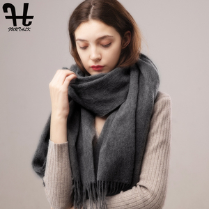 Image 2 - FURTALK 100% Lamb Wool Scarf Women Winter Cashmere Warm Scarves Shawls Tassel Luxury Winter hijab scarf Wraps foulard femme