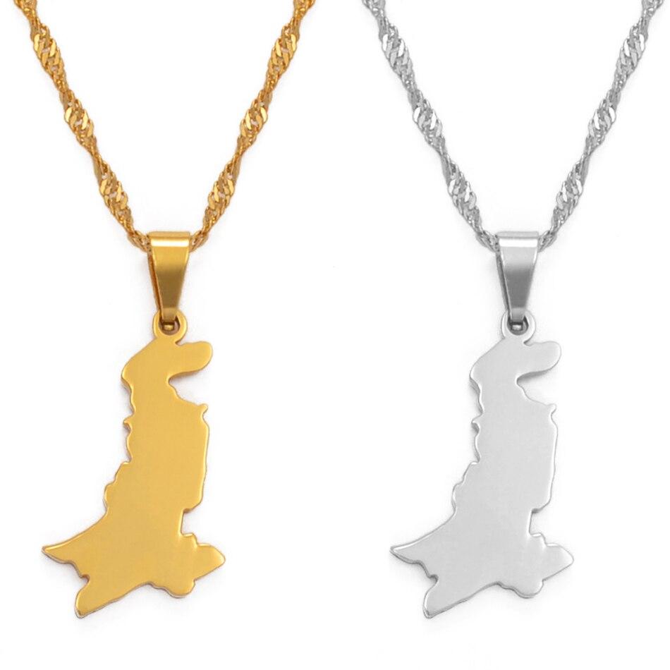 Ожерелье с подвеской в виде карты Пакистана Anniyo из нержавеющей стали и серебра/золотой цвет, пакистанские Этнические украшения #111321