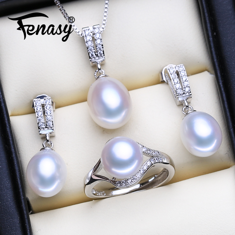 FENASY Wedding Jewelry Sets Fashion Natural Freshwater Pearl Pendant Necklaces Women Drop Earrings Elegant Silver Color Ring Set