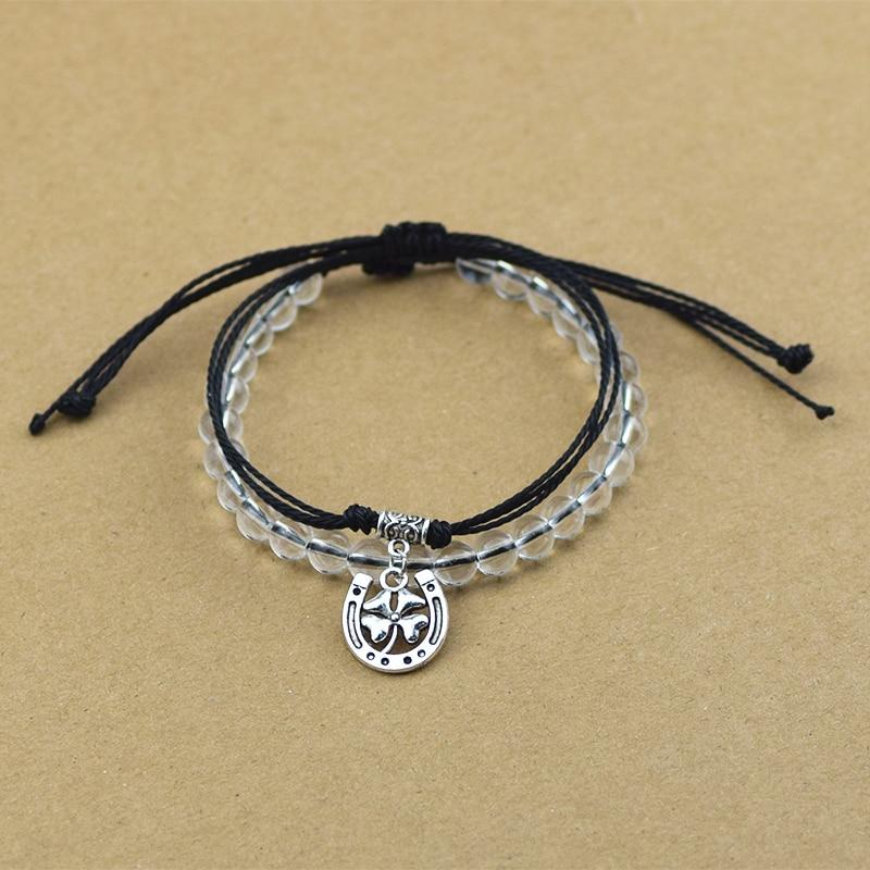 2pcs/set New Four Leaf Clover Lucky Jewelry for Women Men Tibetan Silver Color Horseshoe Pendant String Glass Beads Bracelets