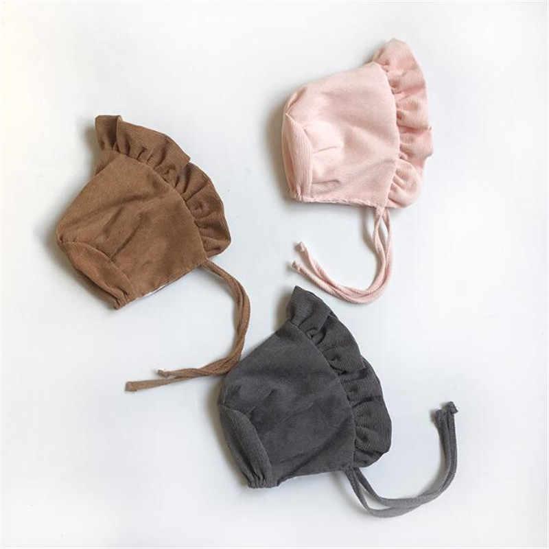 Solide Prinzessin Kappen Nette Baby Mädchen Motorhaube Pography Prop Herbst Winter Kinder Wolle Kappe 0-9Months Neugeborenen Cord Hüte