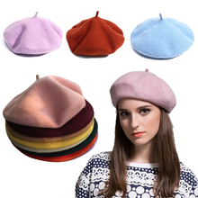 French Style Solid Casual Vintage Hat Beret Plain Cap Wool W