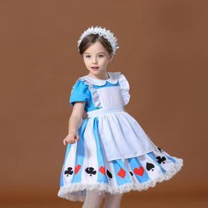 Нарядное платье Алисы в стране чудес для девочек; Детский карнавальный костюм на Хэллоуин; Карнавальный костюм для костюмированной вечеринки