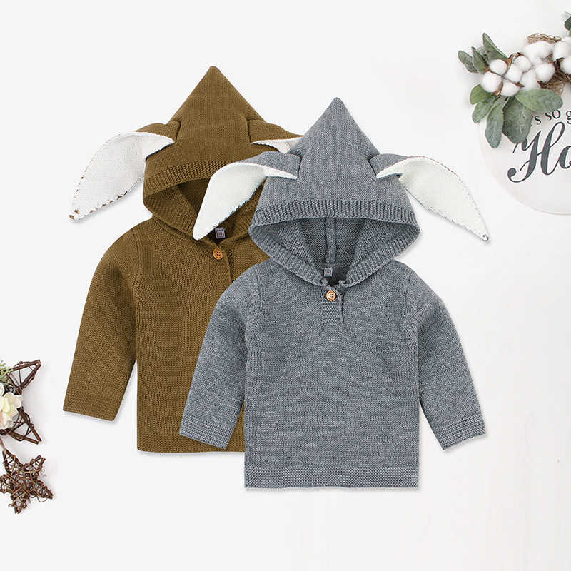 Newborn Baby Boys Girls Sweaters Kids Clothes 2019 Autumn Winter Toddler Long Sleeve Hooded Knitted Jumper Pull Enfant Fille