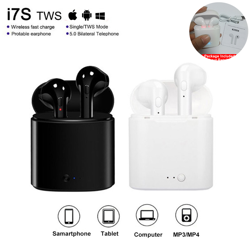 Bluetooth Earphone With Mic Charging Pods I7s Tws Wireless Headphones Headsets Stereo In-Ear For Ios Android Phone Handsfree