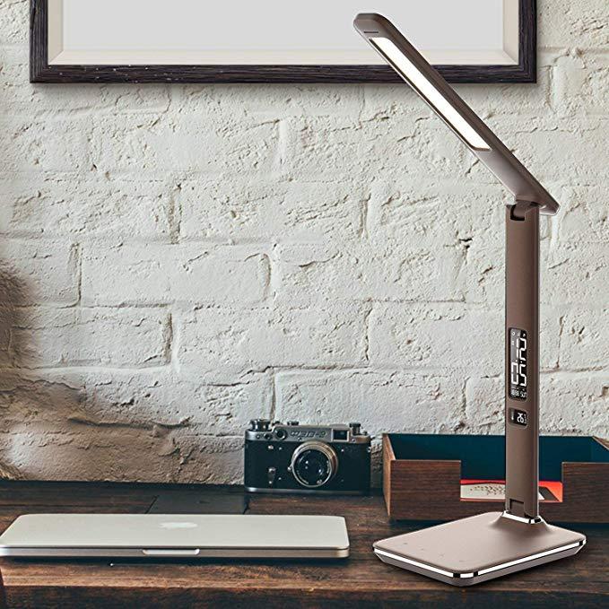 Artpad morden office couro USB charge port business gift touch dimmer lâmpada de mesa led dobrável com alarme relógio / calendário