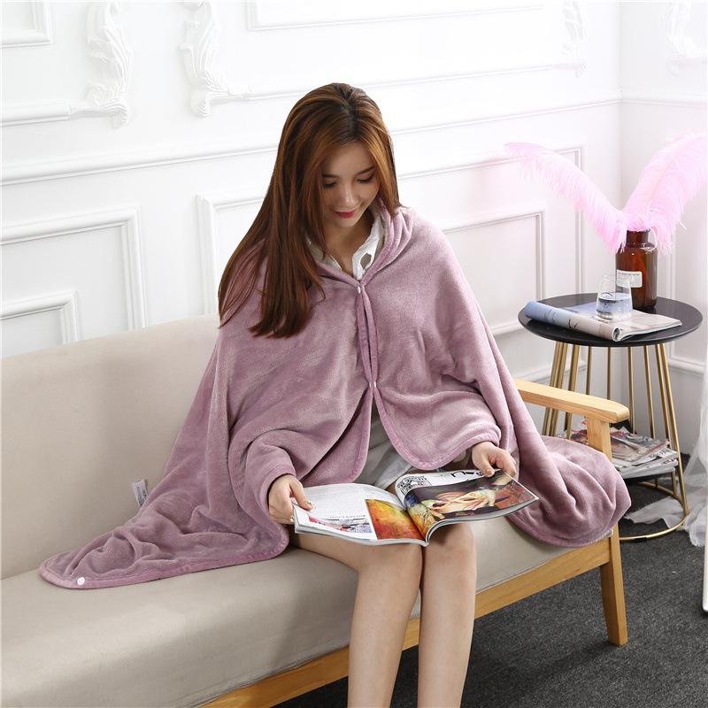 Flannel Blanket Hoodie Travel Totoro Blanket Soft Fuzzy Fluffy Blankets Sweatshirt Solid Winter Warm Fleece TV Blankets for Beds 5