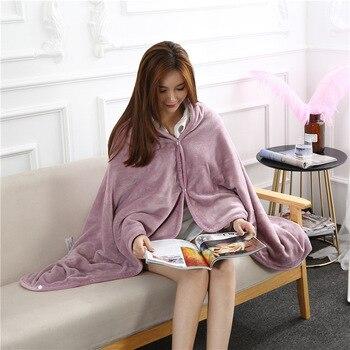 Flannel Blanket Hoodie Travel Totoro Blanket Soft Fuzzy Fluffy Blankets Sweatshirt Solid Winter Warm Fleece TV Blankets for Beds 3