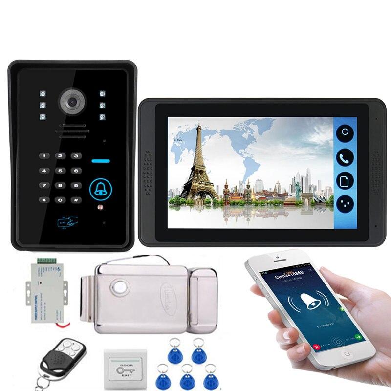 WIFI 7inch Touch Screen LCD Video Intercom Door Phone Record Kit Code Keypad RIFD Waterproof Camera Electric Lock