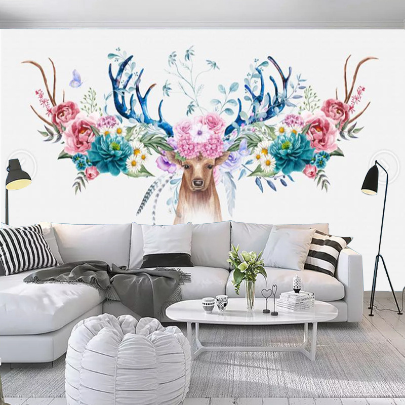 Modern 3D Simple Northern European-Style Flower American-Style Deer Head Flower Living Room Bedroom Television Sofa Background W