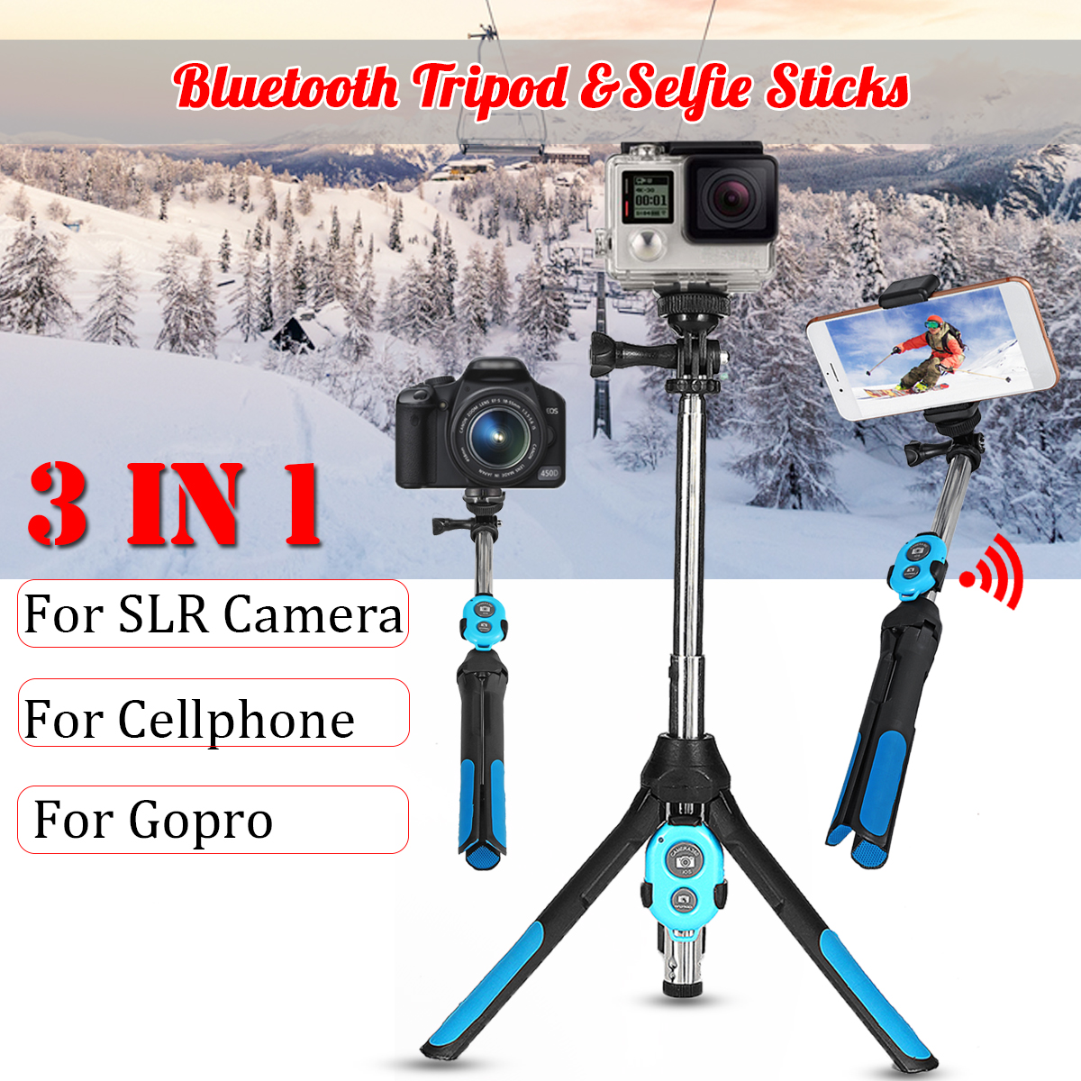 3 in 1 Camera Tripod bluetooth Selfie Stick Wireless Monopod For Gopro 5 6 7 Sports SLR Camera For iPhone XR XS X 8 Smartphone