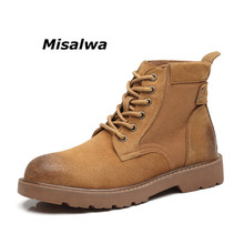 us size classical retro mens boots genuine leather lace up ankle boots zip work safety boots man winter shoes Misalwa Comfortable Men Anti-Skid Work Safety Boots Classic Lace-up Mens Combat Boots Best-selling Shoes Military Ankle Boots