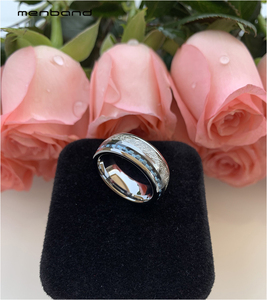 Image 5 - Anillo de boda de tungsteno de 8MM para hombres y mujeres, con incrustaciones de meteorito y fibra de carbono azul, caja de anillo disponible