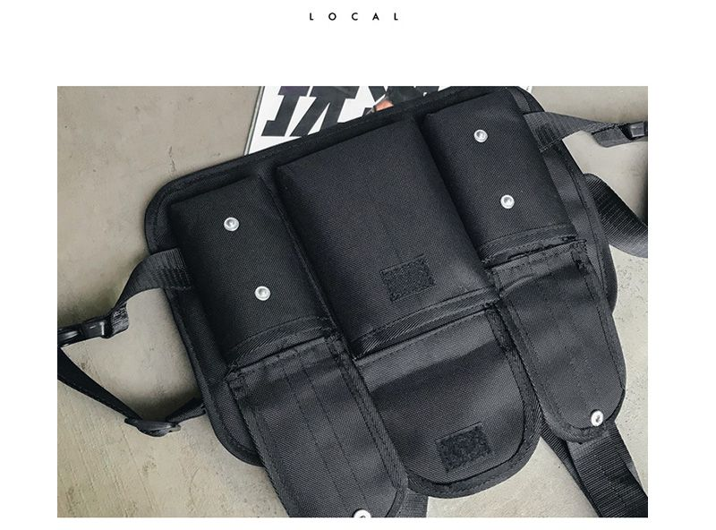H8823ddc939814a42afb9c3d6e751406fp - Fashion Chest Rig Bag Hip Hop Streetwear Functional Tactical Chest Bags Cross Shoulder Bag Kanye West backpack waist bag black