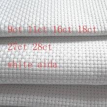 9TH 25x25 см канва 14ct 16ct 18ct 28ct 27ct ткань из перекрестной стежки из плотной ткани небольшая решётка белого цвета; вышивка швами