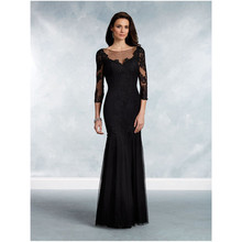 Exquisite Black Tulle Appliques Lace Mother Bride Dress Black Big size 3/4 Sleeves Sheath Illusion Full-Length Party Dresses(China)