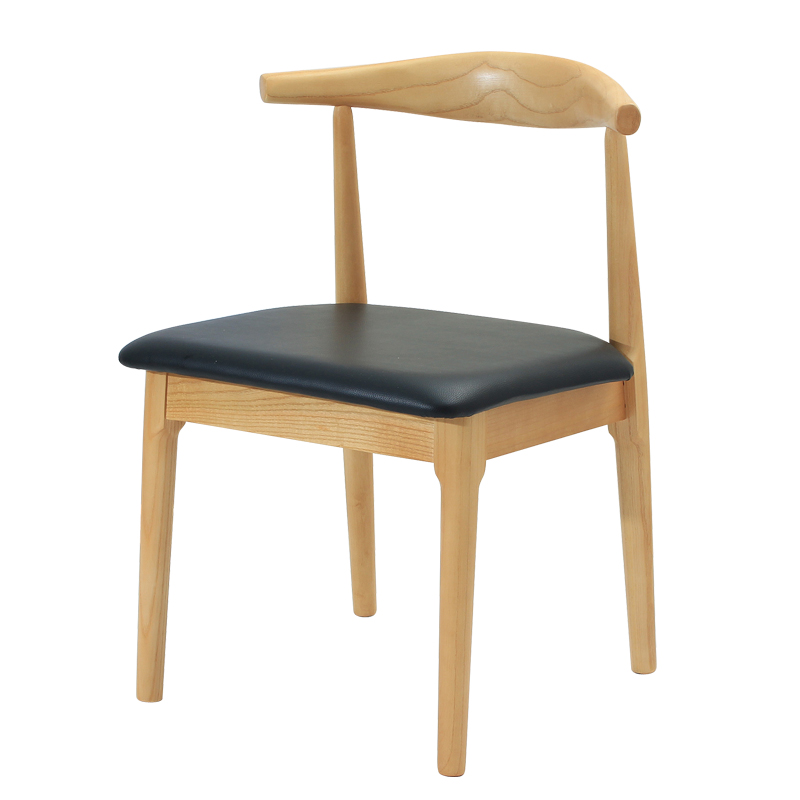 Solid wood dining chair desk chair home horn chair nordic meeting office stool backrest restaurant chair z-shaped chair