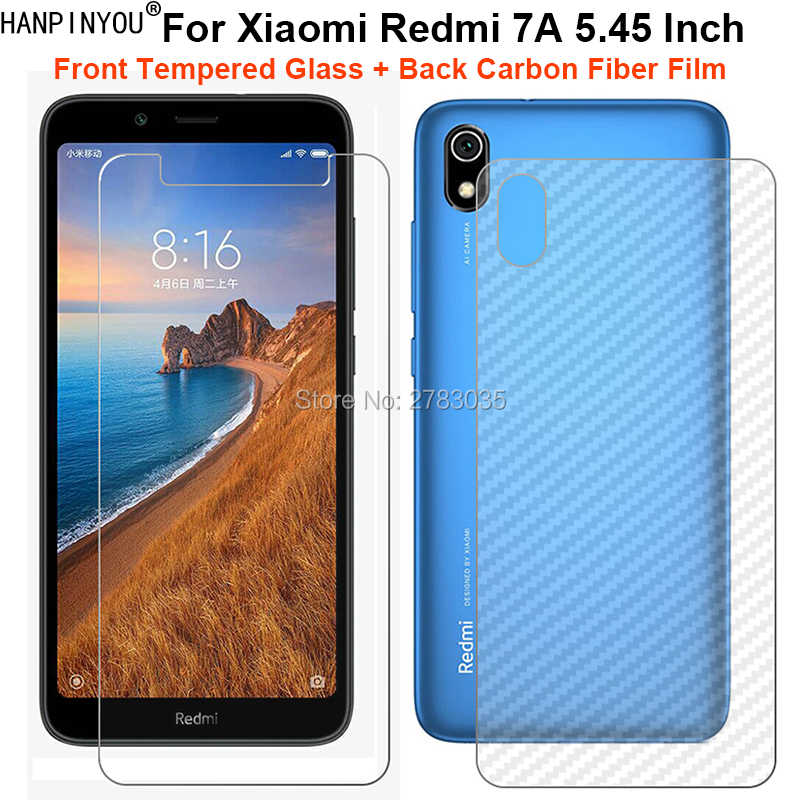 "For Xiaomi Redmi 7A 5.45"" 1 Set = Soft Back Carbon Fiber Film +Ultra Thin Clear Tempered Glass Front Screen Protector"