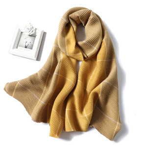 Image 3 - Lady Winter Cashmere Scarf for Women Plaid Solid Pashmina Scarves Crinkle Thick Wool Knit Unisex Neck Scarfs Stole