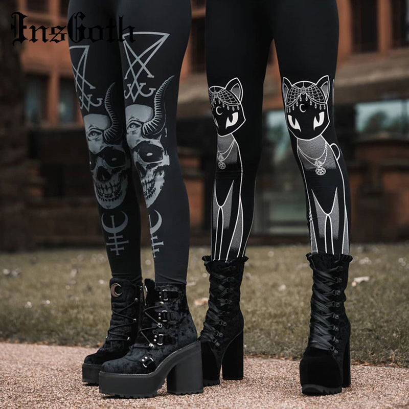 InsGoth Cat Print Black Leggings Bodycon High Waist Women Pants Gothic Streetwear Pencil Long Trousers Female Legging Winter
