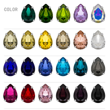 14MM Drop Shape Rhinestones for Needlework Strass Craft Crystal With Silver Claw AB For Clothes Rhinestone Glass DIY