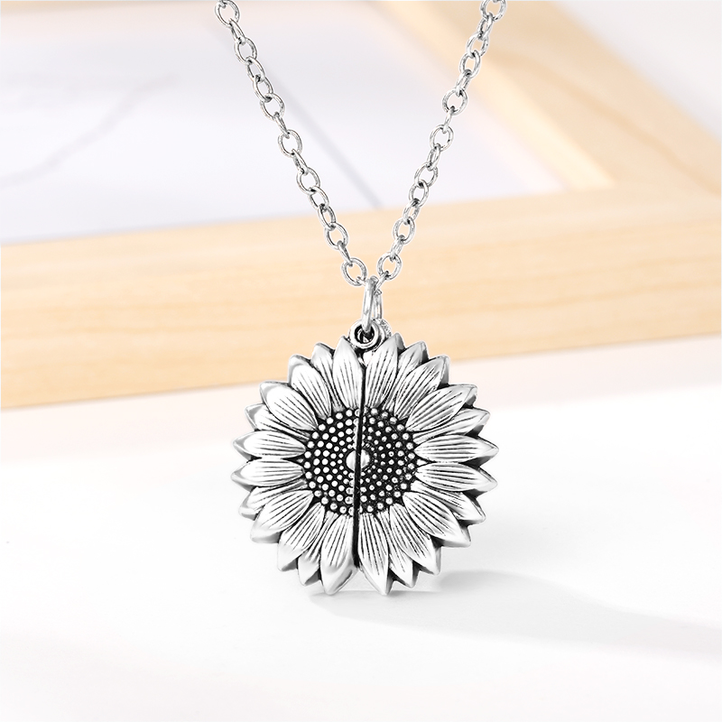 H88246d110bbf419596e0bb95df67abbf4 - You Are My Sunshine Sunflower Necklaces For Women Rose Gold Silver Color Long Chain Sun Flower Pendant Necklace Fashion Jewelry
