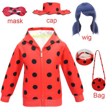 New Halloween Children Fantasia Ladybug girls wigs mask Costume Cosplay Set Kids Little Beetle toddler clothes Jumpsuit dress up(China)