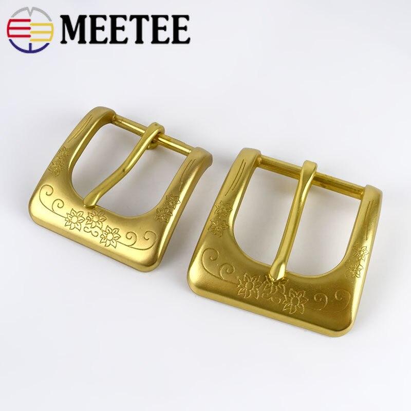 Meetee Solid Brass Metal Belt Buckle Men Women Belt Head For Belt Metal Pin Buckles DIY Leather Craft Jeans Accessories