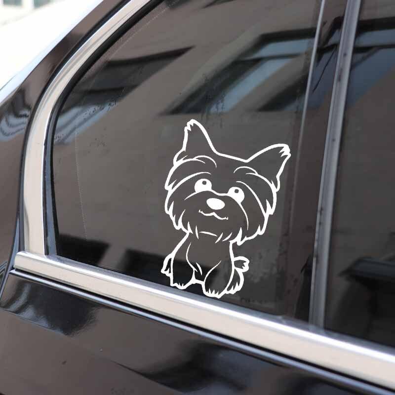 YJZT 10.8X16CM Yorkie Yorkshire Terrier Doggy Decal Cute Fun Dog Car Window Vinyl Car Sticker Black/Silver C24-1633