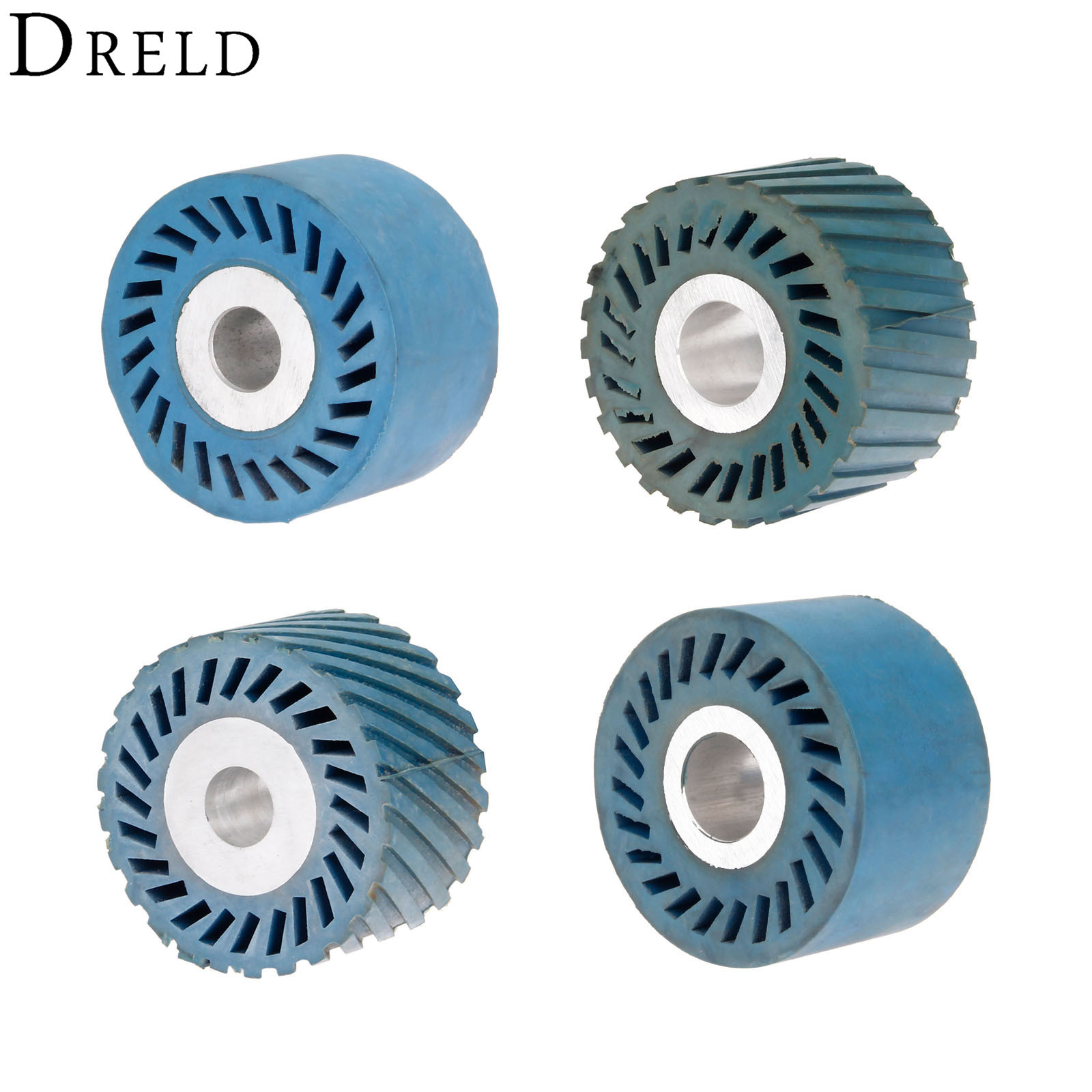 DRELD 86*50mm Solid Grooved Rubber Contact Wheel For Belt Grinder Sander Polishing Chamfering Grinding Wheel Abrasive Belt