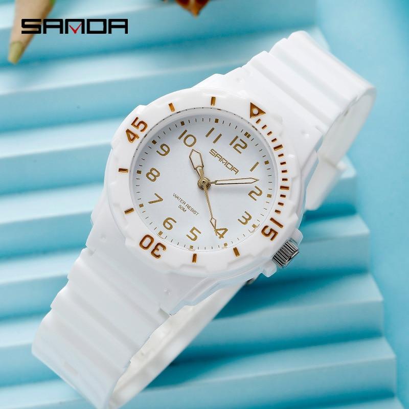 SANDA  New Women Luxury Brand Watch Simple Quartz Wristwatch Stop Watch Water Resistant  Luminous Hands  Christmas Gift  I Watch