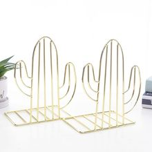 2PCS/Pair Creative Cactus Shaped Metal Bookends Book Support Stand Desk Organizer Storage Holder Shelf  X6HB book holder for reading creative metal book clip bookstand london telephone booth iron bookends cartoon stationery a pair of pcs