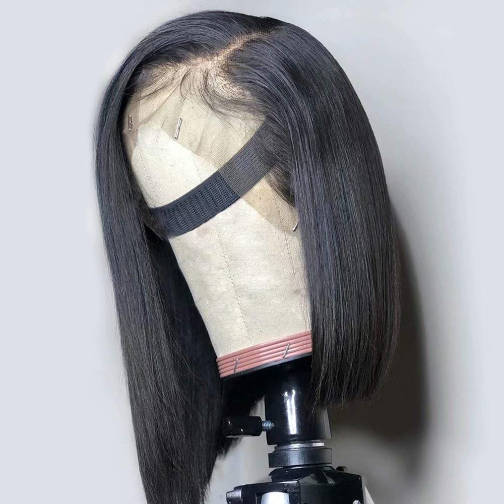 Rosabeauty Brazilian Short Bob Remy Straight Lace Front Human Hair Wigs Natural Color Lace Frontal Wig For Black Women