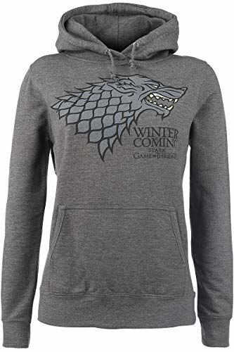 Game Of Thrones House Stark - Winter Is Coming Hooded Sweater Mottled Grey L