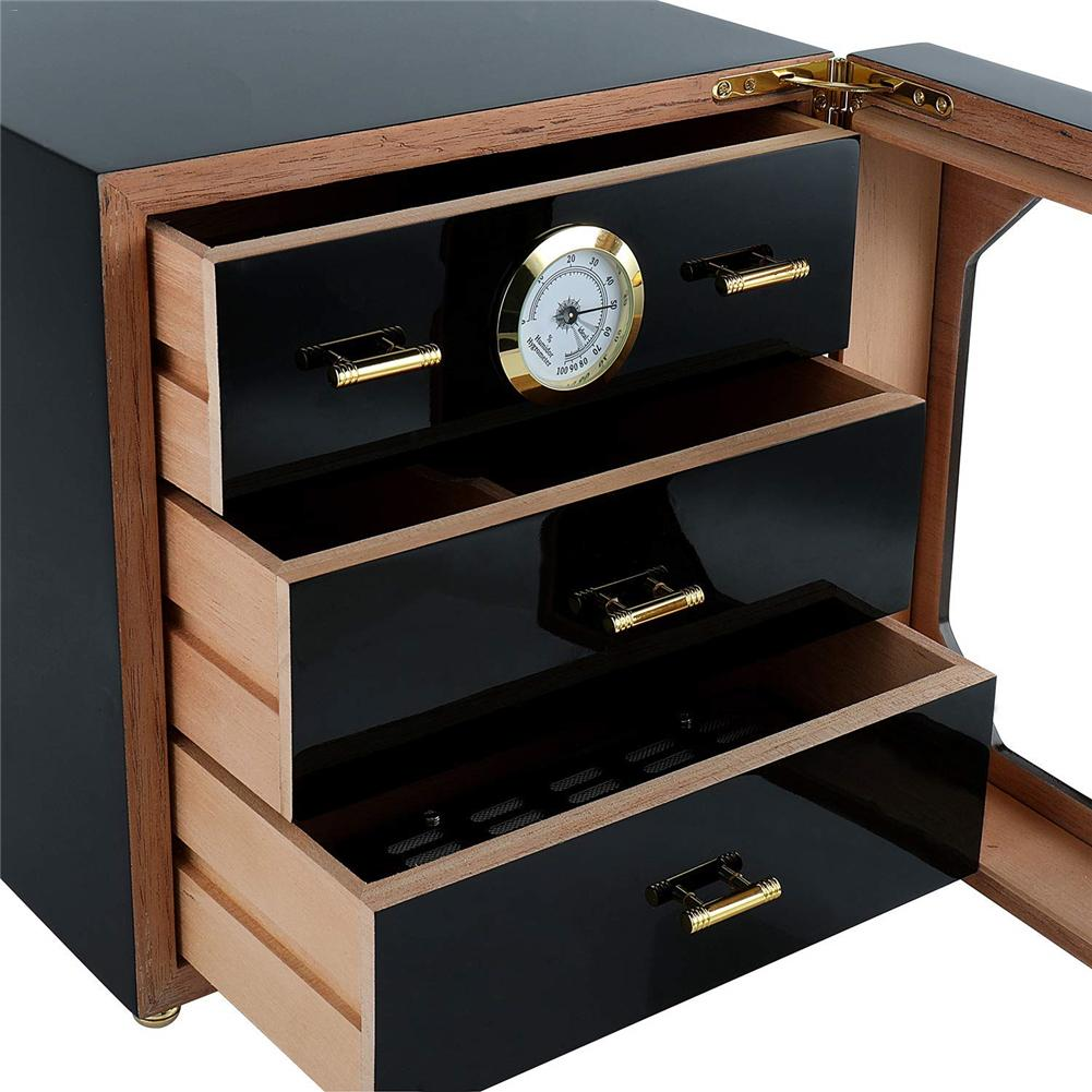 Luxe Zwart Cederhout Sigaar Humidor Kast Opbergdoos Hygrometer Luchtbevochtiger 3 Laag Laden Fatsoenlijke Sigaar Box Set - 3