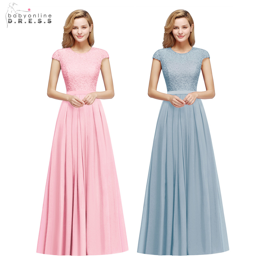 Elegant Lace Chiffon Long Bridesmaid Dresses 2020 Charming Short Sleeve Wedding Guest Dresses Burgundy Robe Demoiselle D'honneur