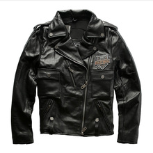 98010 読み取り説明! アジアサイズ本物の牛の皮の革のジャケットメンズ牛革カジュアルヴィンテージバイカーレザージャケット
