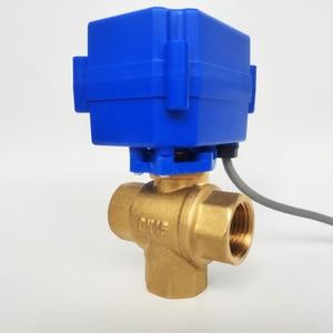"Image 4 - 1/2"" Electric Valve 3 way T port, DC12V Motorized valve 3 wires(CR02), DN15 Mini electric valve for fluid direction regulating"