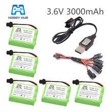 Ni-mh 3.6 v 3000 mah bateria recarregável 3.6 v nimh recargables aa tamanho para rc carro brinquedo barco modelo