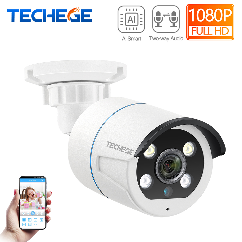 Techege HD 1080P POE IP Camera Two-way Talk Security Camera AI ONVIF Human Detection Outdoor Waterproof Camera CCTV For POE NVR