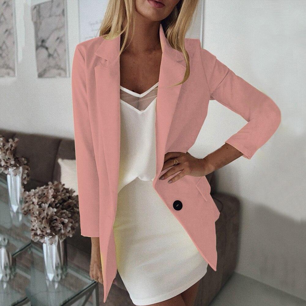 JODIMITTY Retro Single Button Suit Jackets Plus Size 5XL Blazer Women Basic Notched Collar Solid Long Sleeve Blazer With Pockets
