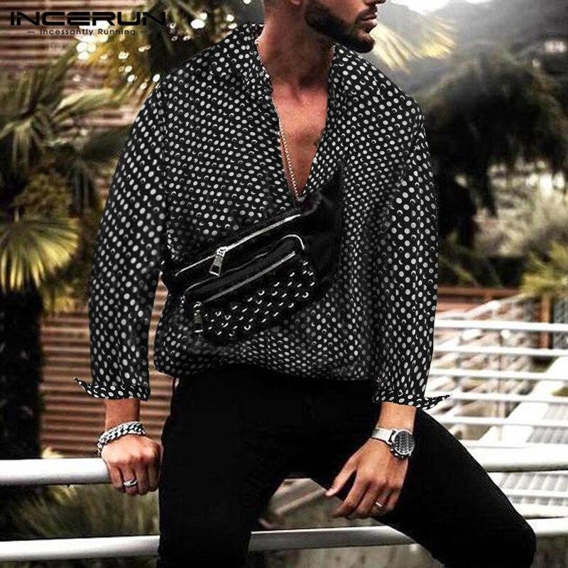 INCERUN Autumn Polka Dot Fashion Men Shirt Button Tops High Street Lapel Neck Long Sleeve Chic Brand Shirt Men Camisa S-5XL 2020