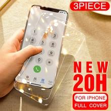 3 pièces verre de couverture complet sur le pour iPhone 11 pro X XS Max verre trempé pour iPhone 11 Pro MAX 7 8 6 6s Plus Film de protection décran