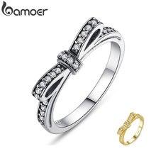 Bamoer аутентичные стерлингового серебра 925 игристые бант стекируемые кольцо микро-проложить CZ ювелирные изделия PA7104