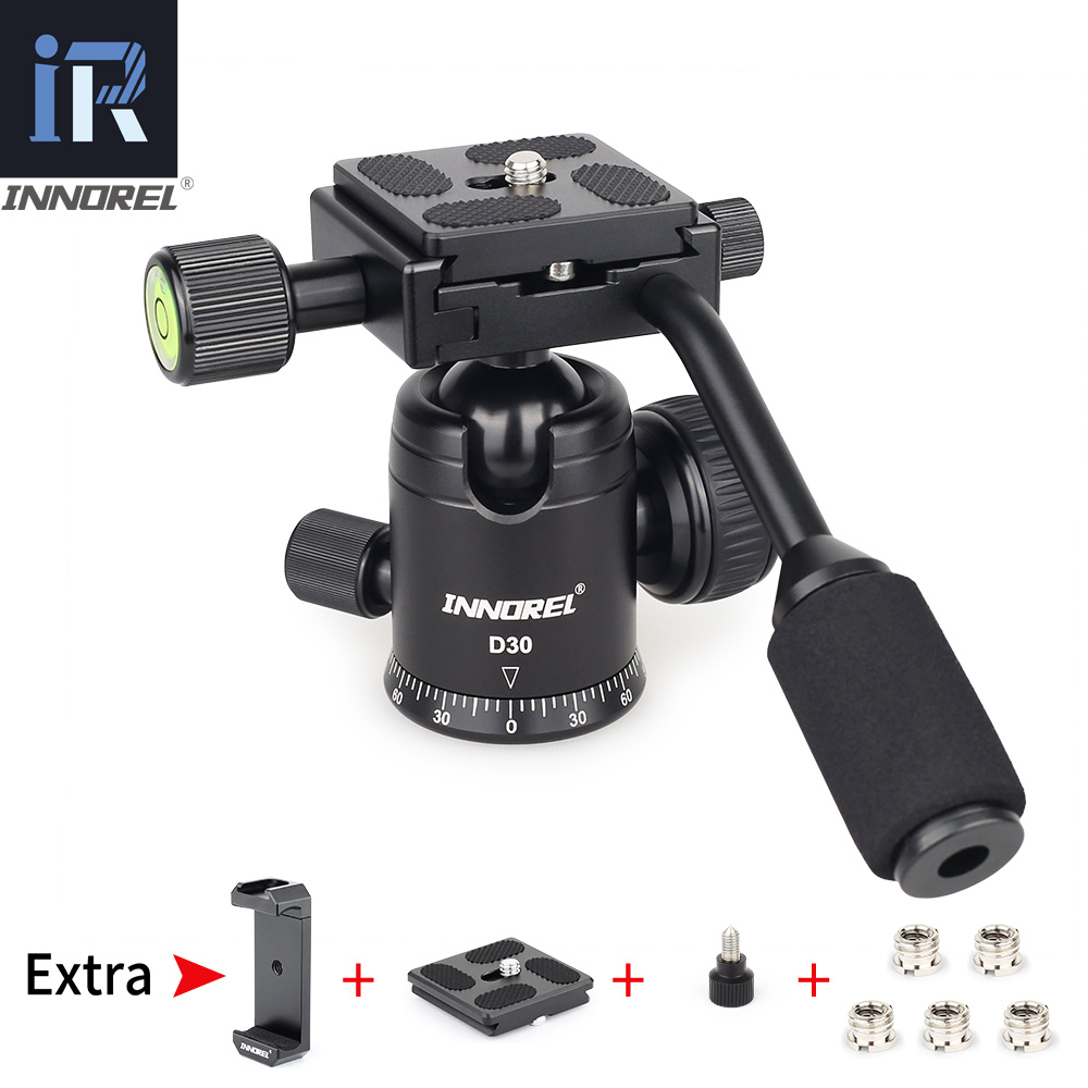D30 Ball Head with Handle CNC Panoramic Tripod Head Q.R. Plate Camera Mount for DSLR Cellphone Mobile Phone Camcorder Telescope