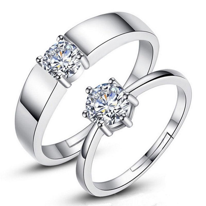 Регулируемые серебряные парные обручальные кольца с цирконом для женщин и мужчин, модное обручальное кольцо Стразы для пары