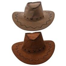2 шт. ретро унисекс джинсовая дикая западная ковбойская Родео нарядное платье аксессуары шляпы хаки и светильник кофе