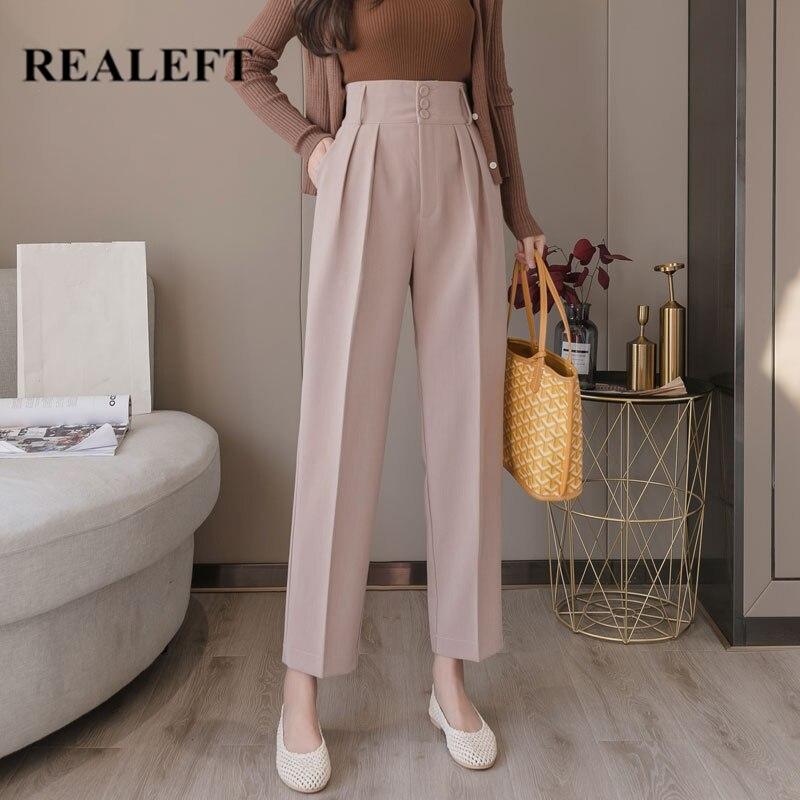 REALEFT 2020 New Spring Korean OL Style Women Formal Harem Pants Pockets High Waist Elegant Office Lady Ankle-Length Pants