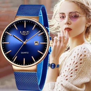 2020 LIGE Women Watches Top Luxury Brand New Fashion Ladies Dress Mesh Stainless Steel Watch Waterproof Quartz Clock Reloj Mujer