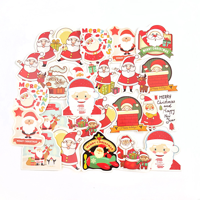 48Pcs/box Merry Christmas Decorative Sticker Santa Claus Shaped Envelope Seal Stickers For Scrapbook Diy Diary Album Decoration